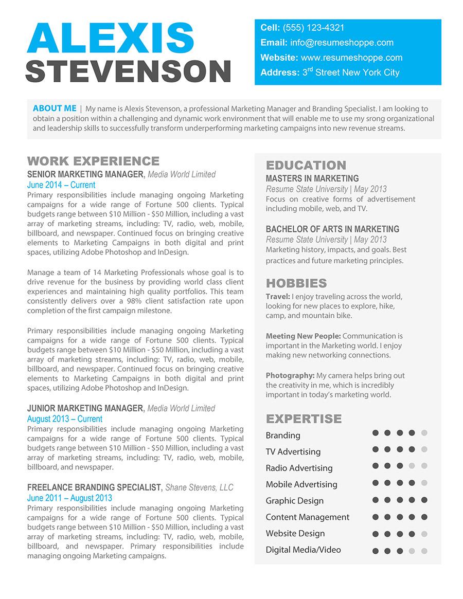 The Alexis Creative Resume - Resume Shoppe